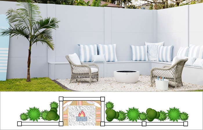 Outdoor Fire Pit Area - Setback Bays - Fence Design Trends | ModularWalls