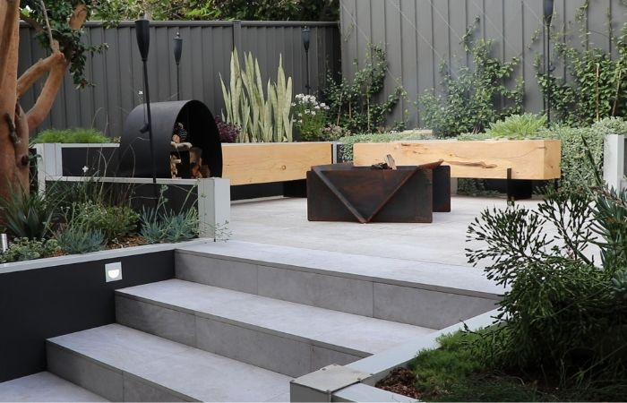 Outdoor Fireplace Before & After With DIY Retainer Wall | ModularWalls
