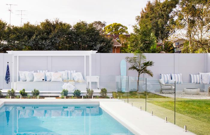 Hamptons Style Pool Area | Three Birds Renovations House 11
