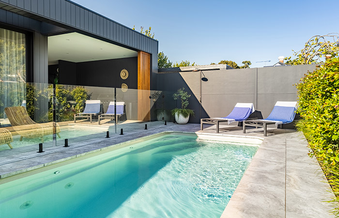 Art Deco Meets Modern - SlimWall fence with outdoor shower