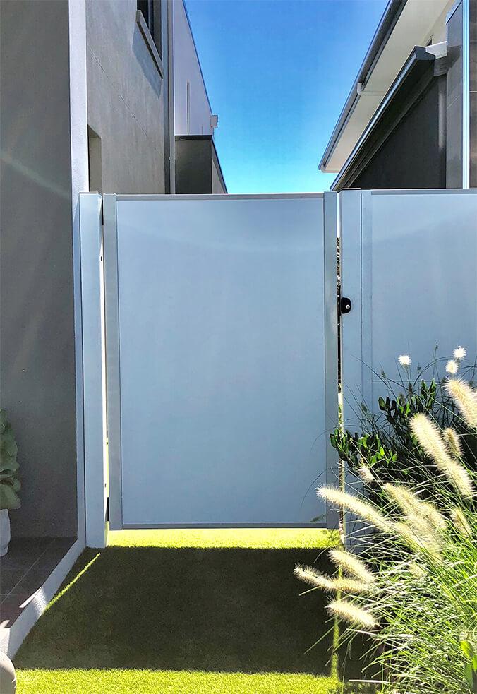 Modular side pedestrian solid panel gate