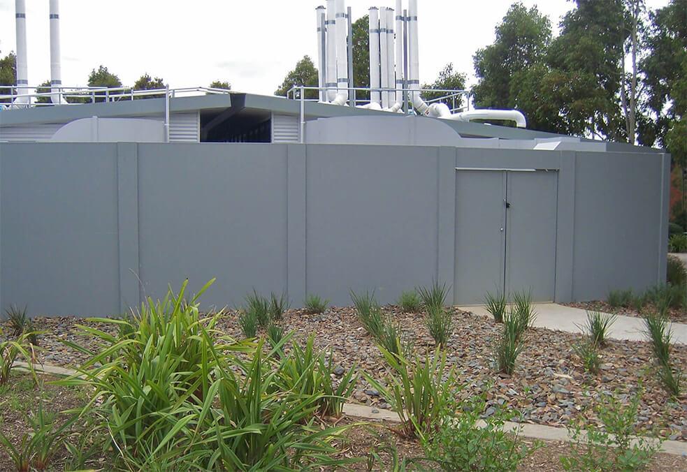 Solid panel gate for HVAC plant enclosure, Melbourne University, VIC
