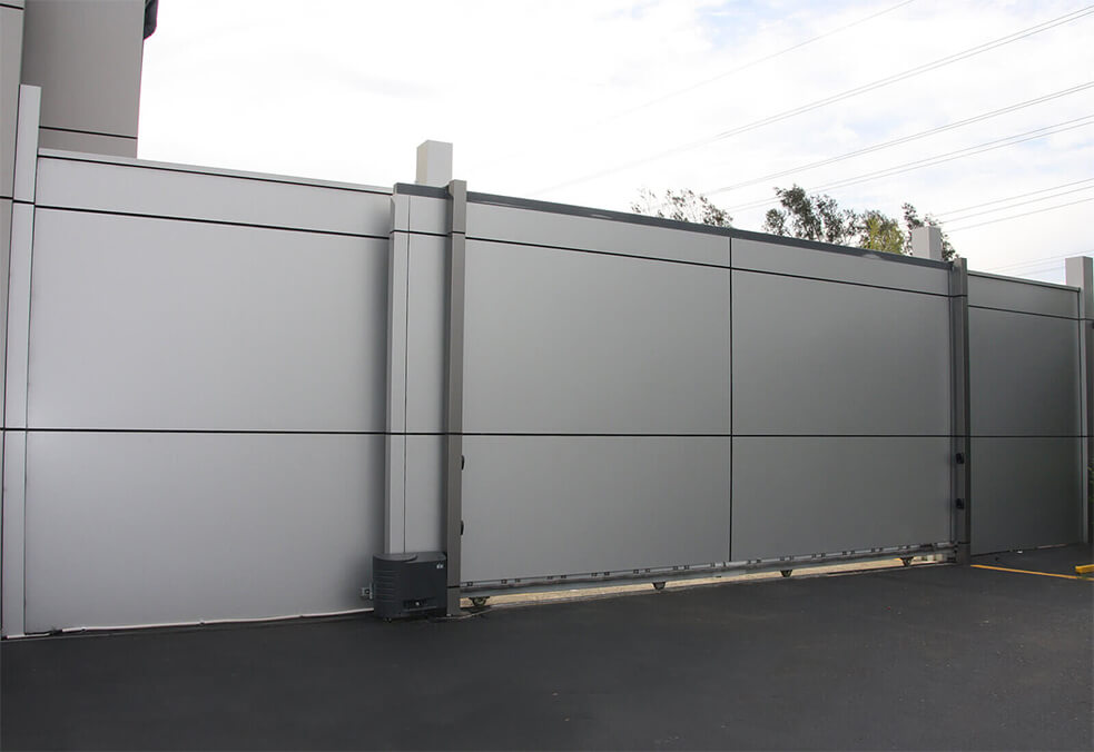 Solid panel gate for MUSICO Smash Repairs, NSW