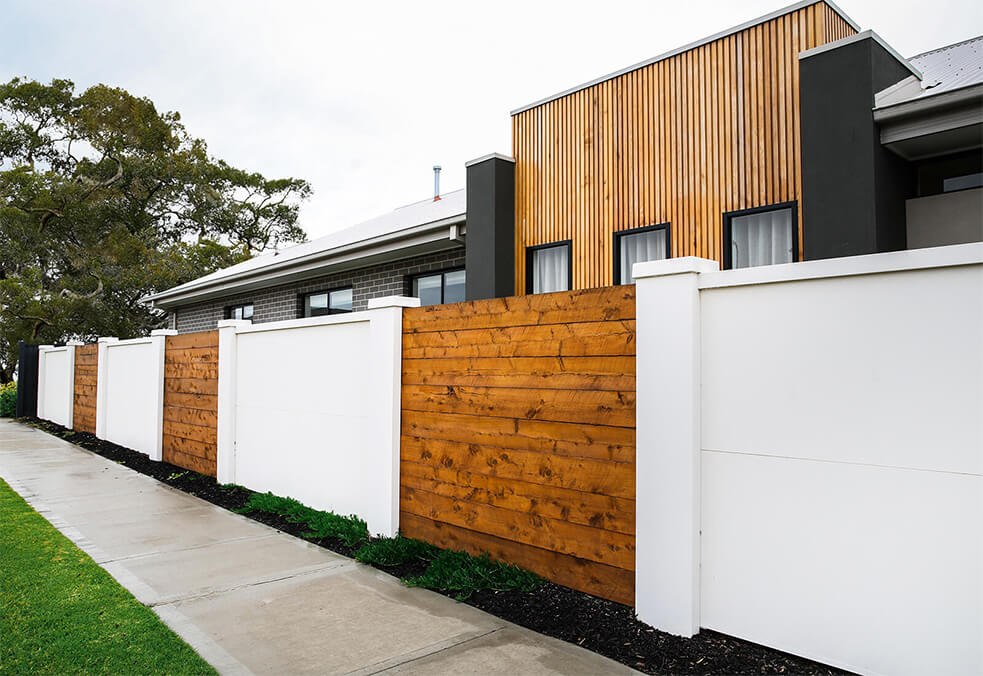 Boundary wall with customised timber infills