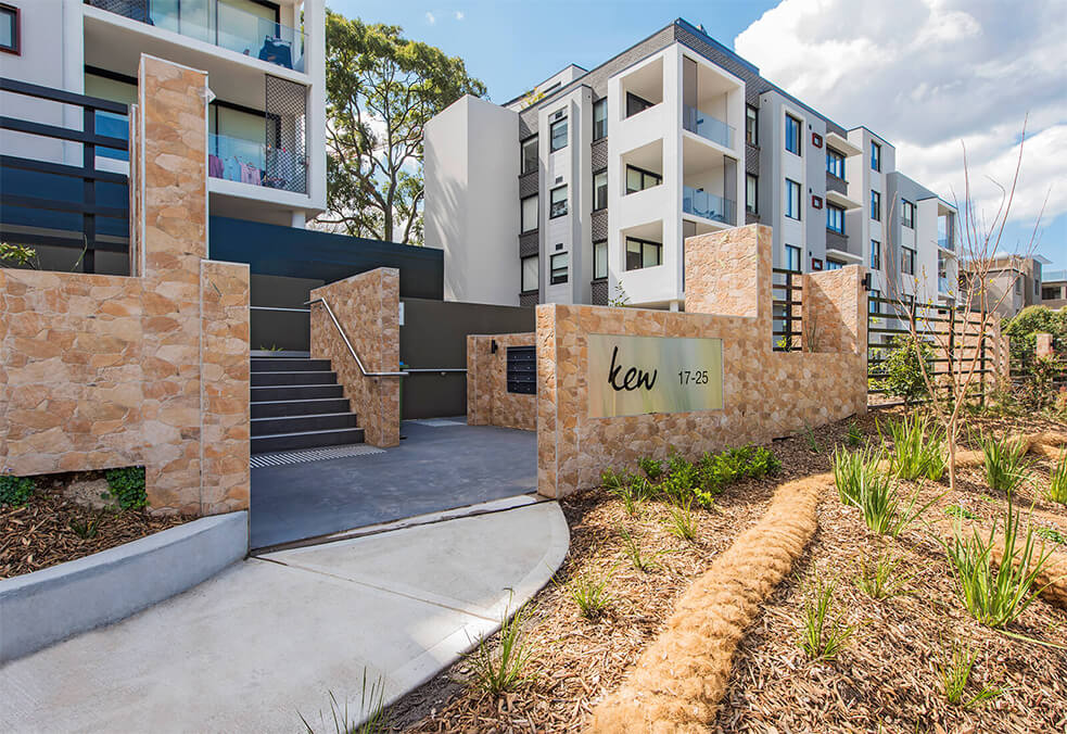 EstateWall with sandstone finish for development in Roseville, NSW