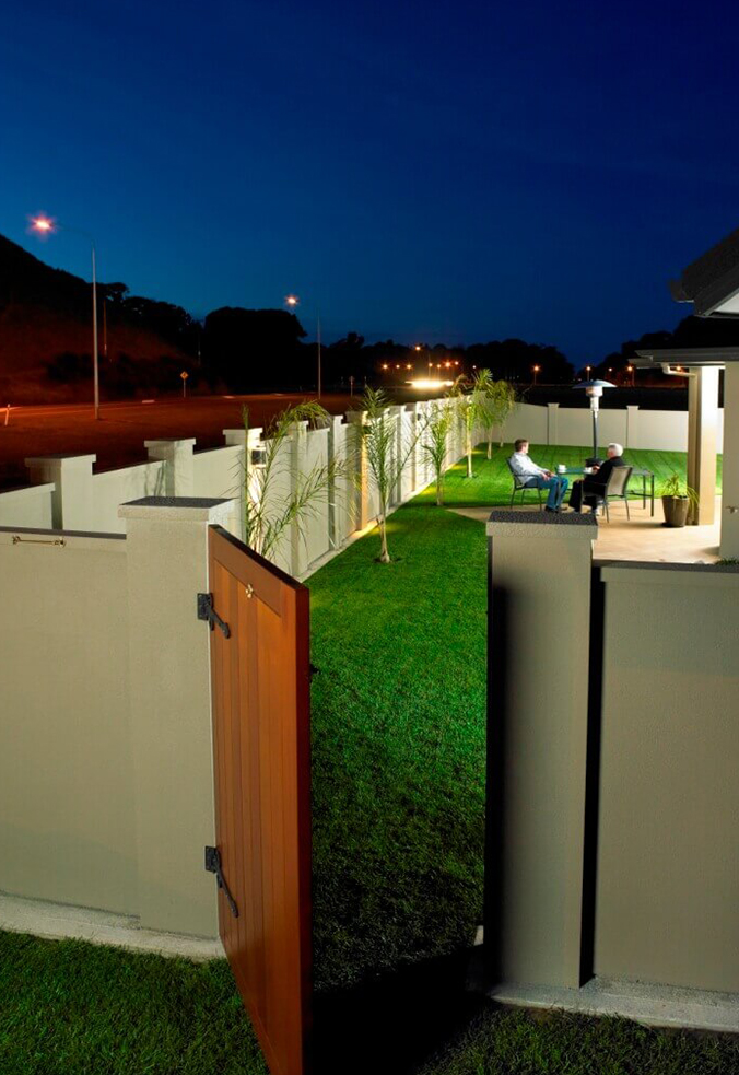 Backyard boundary wall with custom side gate