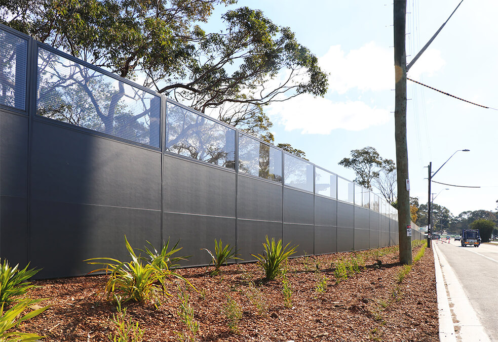 Noise wall for Captain Cook Drive, Caringbah NSW