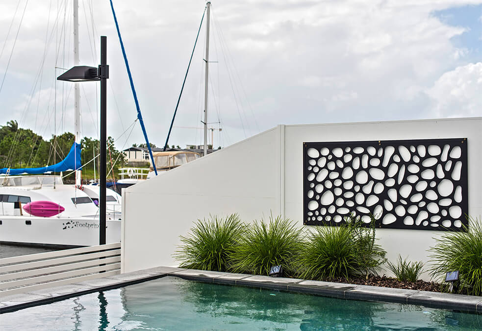 Pool feature wall for dream waterfront backyard!
