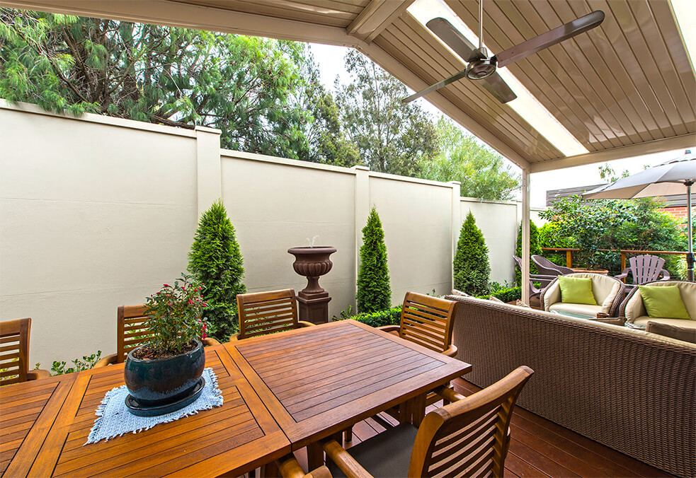 Backyard boundary and privacy wall