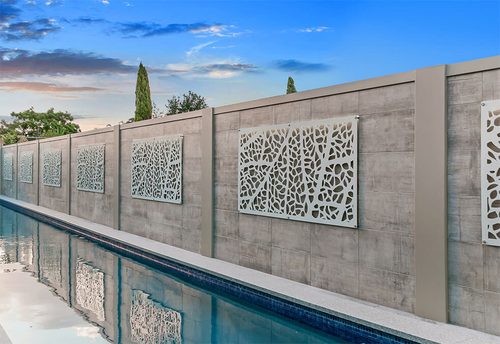 Pool wall with flush capping, custom tiles and back lit laser cut screening